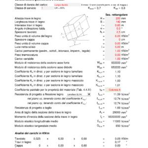 Calcolo Solaio in Legno NTC 2018 - caratteristiche geometriche, analisi dei carichi - excel