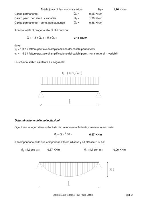 Calcolo Solaio in Legno NTC 2018 - determinazioni delle sollecitazioni - excel
