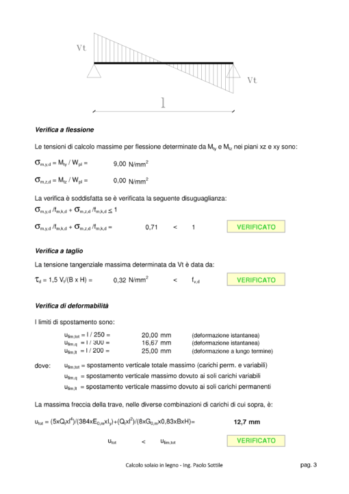 Calcolo Solaio in Legno NTC 2018 - verifiche - excel