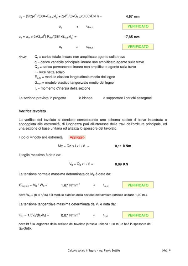 Calcolo Solaio in Legno NTC 2018 - verifica tavolato - excel