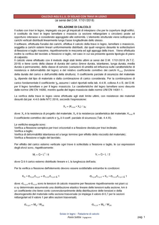 Calcolo Solaio in Legno NTC 2018 - relazione di calcolo - excel