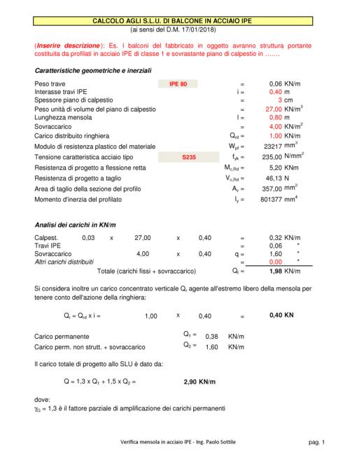 Calcolo balcone ferro (NTC 2018) - caratteristiche geometriche e inerziali, analisi dei carichi - excel