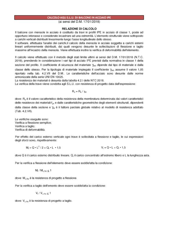 Calcolo balcone ferro (NTC 2018) - relazione (estratto) - excel