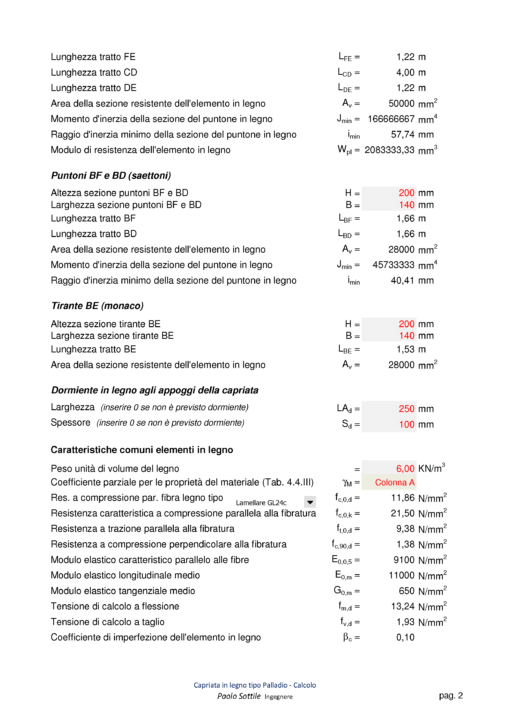 Calcolo capriata legno Palladio (NTC 2018) - puntoni, tiranti, dormienti, caratteristiche comuni - excel