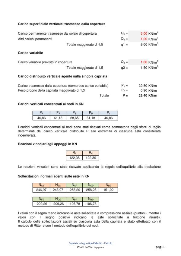 Calcolo capriata legno Palladio (NTC 2018) - carichi, reazioni vincolari, sollecitazioni - excel