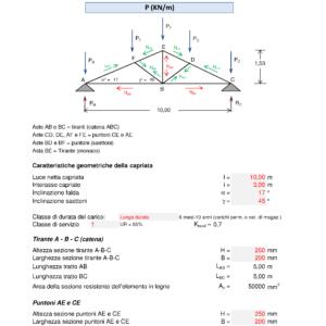 Calcolo capriata legno Palladio + solaio legno (NTC 2018) - caratteristiche geometriche, tiranti, puntoni - excel