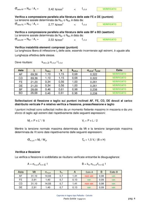 Calcolo capriata legno Palladio + solaio legno (NTC 2018)- verifiche a compressione, a flessione - excel