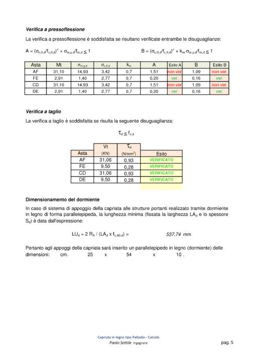 Calcolo capriata legno Palladio + solaio legno (NTC 2018)- verifiche a pressoflessione, a taglio - excel
