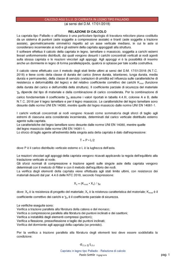 Calcolo capriata legno Palladio + solaio legno (NTC 2018)- relazione di calcolo - excel