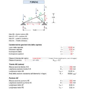 Calcolo capriata legno asimmetrica + solaio legno (NTC 2018) - caratteristiche geometriche, tirante, puntone - excel