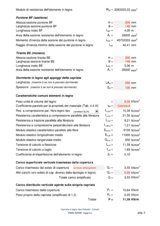 Calcolo capriata legno asimmetrica + solaio legno (NTC 2018) - puntone, tirante, dormiente, caratteristiche comuni, carichi - excel