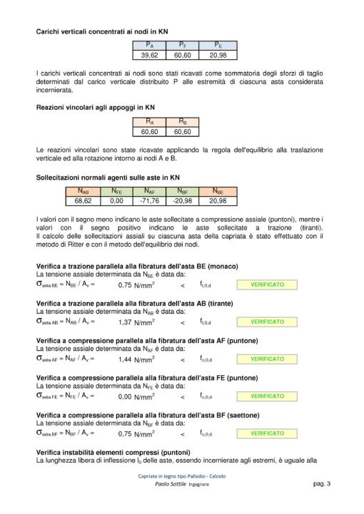 Calcolo capriata legno asimmetrica + solaio legno (NTC 2018) - verifiche - excel