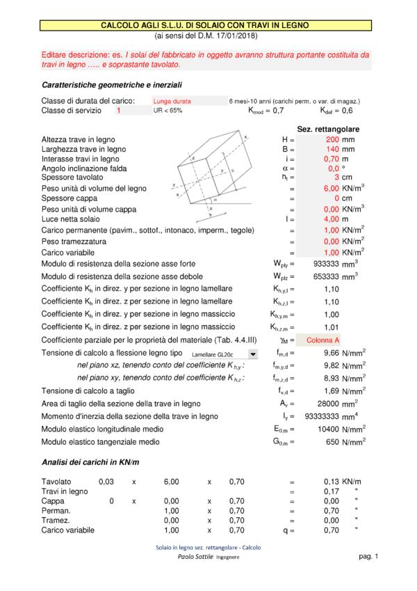 Calcolo capriata legno asimmetrica + solaio legno (NTC 2018) | calcolo solaio in legno - excel