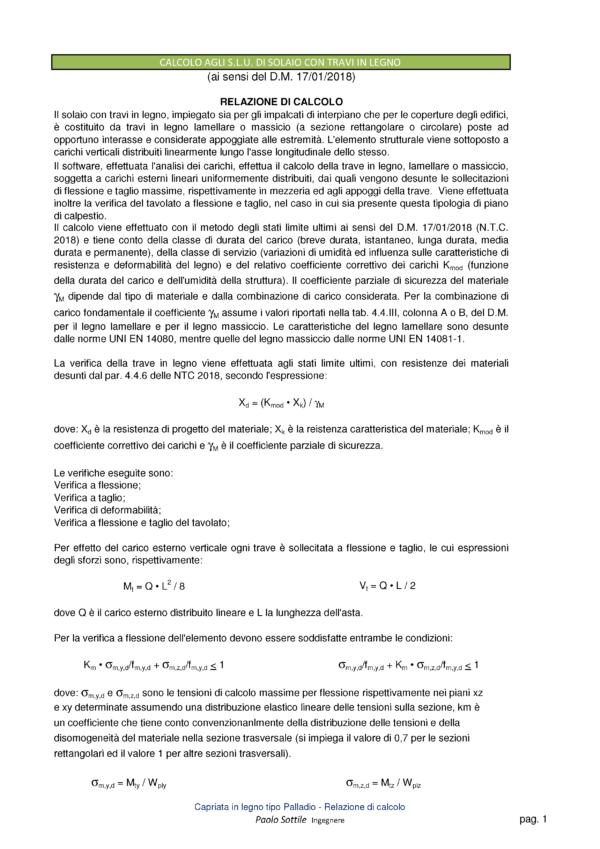 Calcolo capriata legno asimmetrica + solaio legno (NTC 2018) | relazione di calcolo - excel