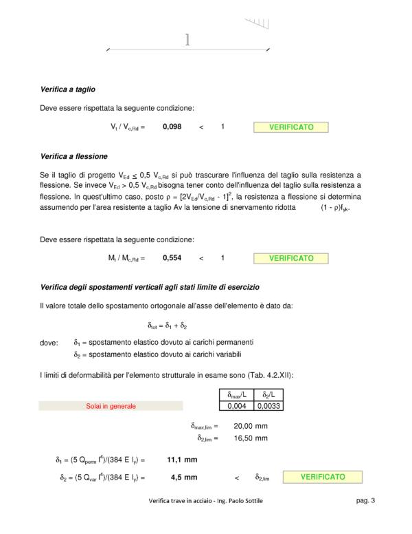 Calcolo solaio ferro (NTC 2018) - verifiche - excel