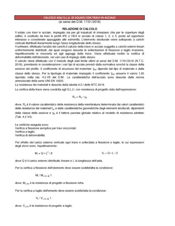 Calcolo solaio ferro (NTC 2018) - relazione di calcolo - excel