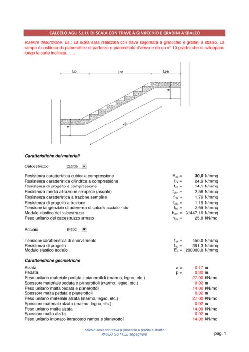 Scala a ginocchio NTC 2018 - caratteristiche dei materiali e geometriche - excel