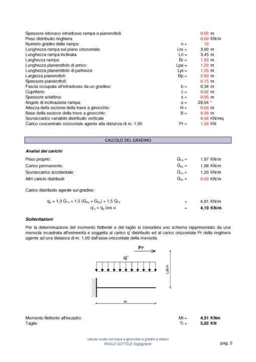 Scala a ginocchio NTC 2018 - calcolo del gradino - excel