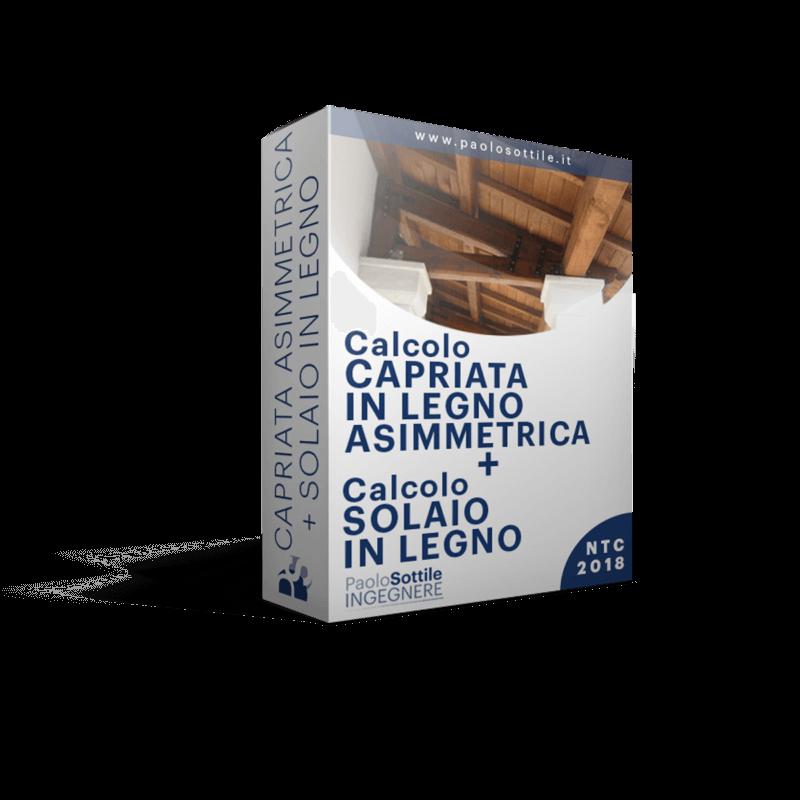 calcolo capriata asimmetrica + solaio in legno NTC 2018 - excel