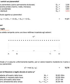 Calcolo scala in c.a. a soletta rampante e gradini riportati - Analisi dei carichi sui pianerottoli e sollecitazioni