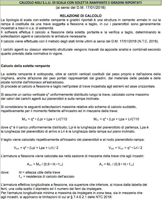 Calcolo scala in c.a. a soletta rampante e gradini riportati - Relazione di calcolo