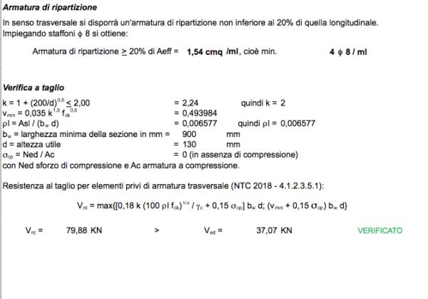 Calcolo scala in c.a. a soletta rampante e gradini riportati - armatura di ripartizione e verifica a taglio
