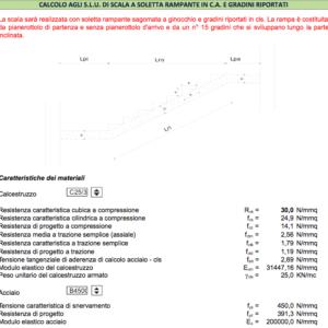 Calcolo scala in c.a. a soletta rampante e gradini riportati - caratteristiche dei materiali